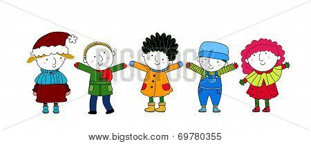 Group of cartoon children and winter
