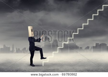 Businessman Walking Forward To Sky