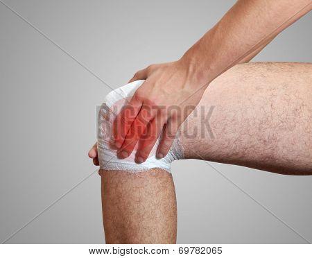 Pain In Leg. The Bandage