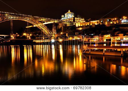 Bridge Across the River in Porto by Night