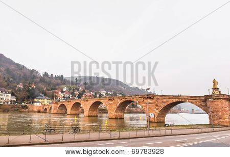 The Old Bridge Cross River Neckar In Heidelberg