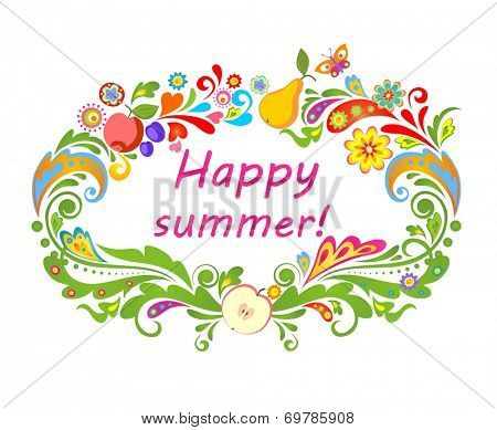 Summery card with fruits. Raster copy