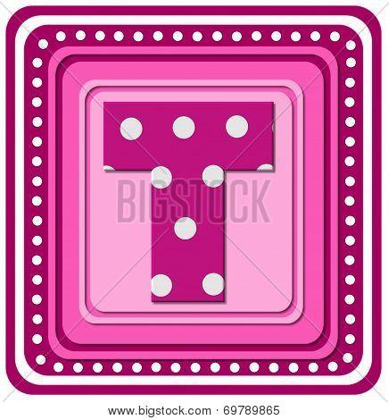 Alphabet Pink Square T