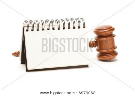 Blank Spiral Note Pad And Gavel On White
