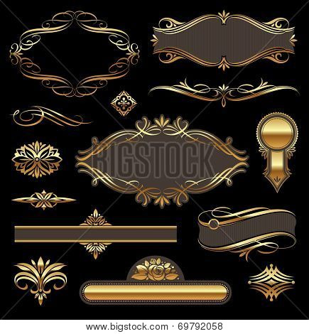Golden luxury ornate frames & page decor elements
