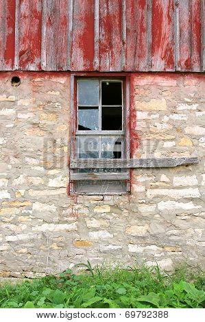 Broken Window On Old Vintage Barn