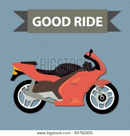 racing motorcycle - flat design vector