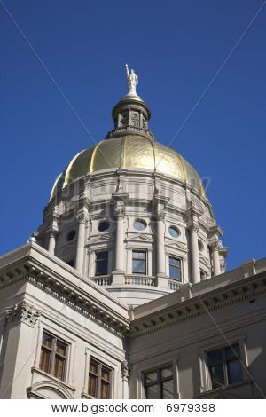 Golden Dome Of A State Capitol Building