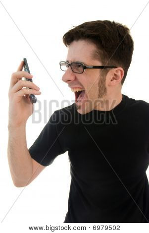 Man yelling into phone