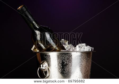 Bottle of wine in ice bucket on dark purple background