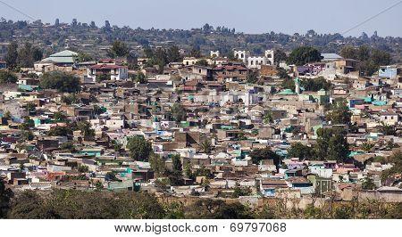 Bird Eye View Of Ancient Walled City Of Jugol. Harar. Ethiopia.