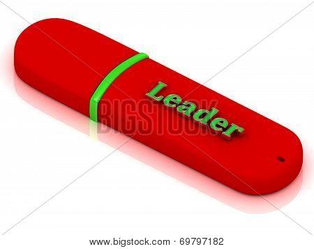 Leader - Inscription On Red Usb Flash Drive