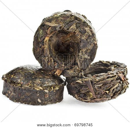 Green Tea Puer (Yunnan Puer Sheng Tuo) isolated on white background