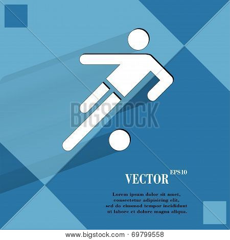 football player. Flat modern web button   on a flat geometric abstract background