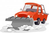picture of plowing  - Illustration Featuring a Snow Plow Plowing Through Snow - JPG