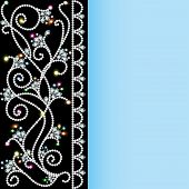 stock photo of precious stone  - illustration background with a pattern of precious stones and flowers - JPG