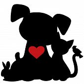stock photo of bird-dog  - A silhouette of a group of pets including a dog cat rabbit and bird - JPG