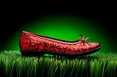stock photo of ruby red slippers  - Sequined red slipper on green grass against a fading green background - JPG