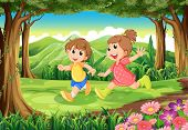 pic of playmate  - Illustration of the children running at the woods - JPG