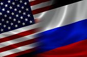 stock photo of merge  - Merged US and Russian flag on satin texture - JPG