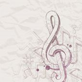 image of clefs  - Hand drawn treble clef and notes - JPG