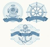 picture of ship steering wheel  - Nautical emblems with hand drawn elements  - JPG