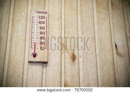 Thermometer On Wall Of Sauna