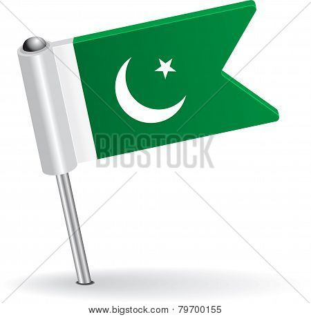Pakistani pin icon flag. Vector illustration
