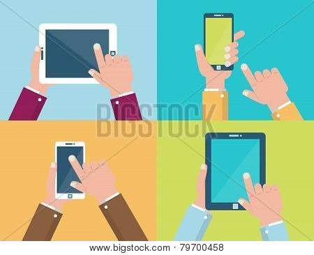 Hands Holding Mobile Devices