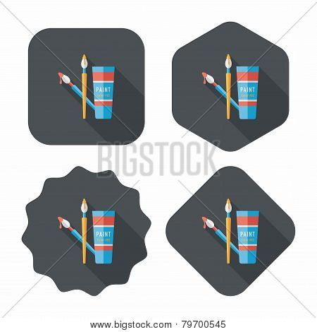 Brush And Color Tube Flat Icon With Long Shadow,eps10