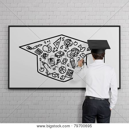 Businessman Drawing Bachelor Cap