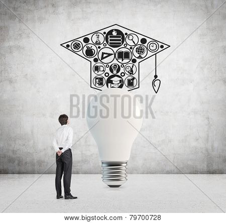 Businessman Looking To Bulb