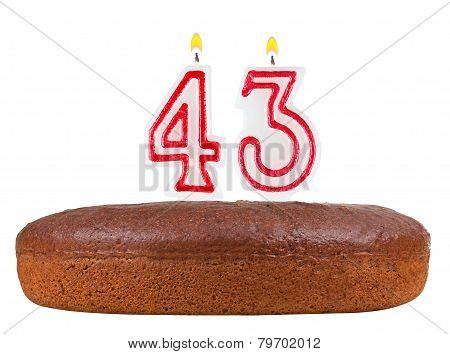 Birthday Cake With Candles Number 43 Isolated