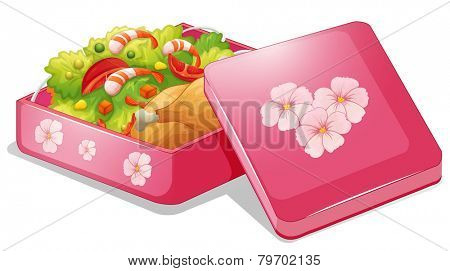 Illustration of a pink lunchbox with chicken and salad