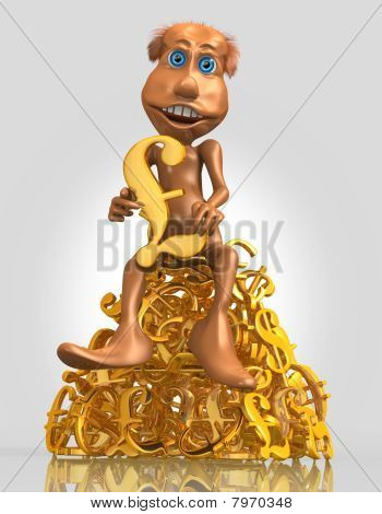 3D Toon Character With Golden Pound Symbol
