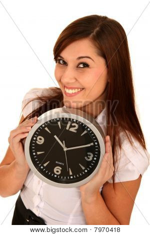 Beautiful Girl Holding A Clock