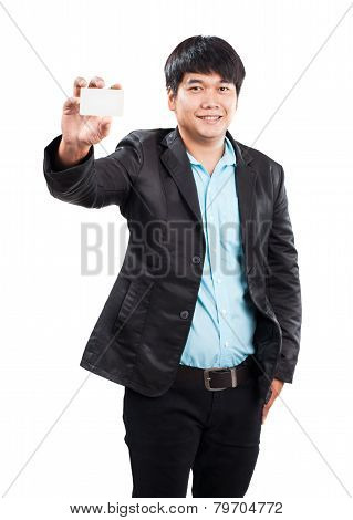 Young Businss Man Standing With Happy Face Holding Name Card In Hand And Showing To People Use For B