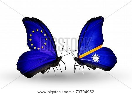 Two Butterflies With Flags On Wings As Symbol Of Relations Eu And Nauru