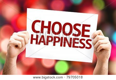 Choose Happiness card with colorful background with defocused lights