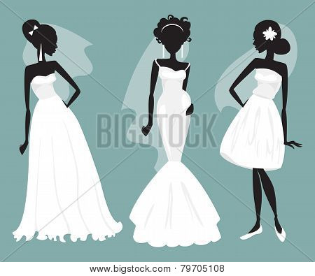 Set Brides In Various Wedding Dresses. Vector Illustration