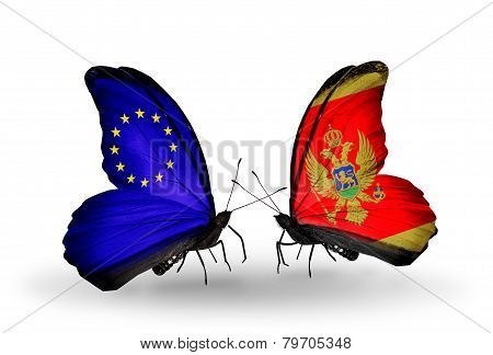 Two Butterflies With Flags On Wings As Symbol Of Relations Eu And Montenegro