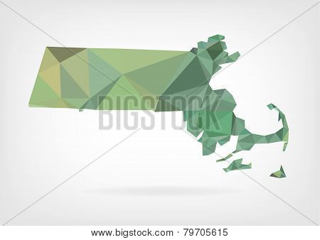 Low Poly map of  Massachusetts state
