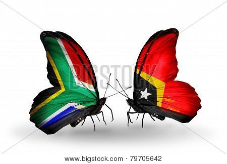 Two Butterflies With Flags On Wings As Symbol Of Relations South Africa And East Timor