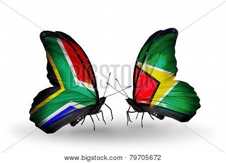 Two Butterflies With Flags On Wings As Symbol Of Relations South Africa And Guyana