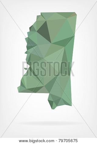 Low Poly map of Mississippi state