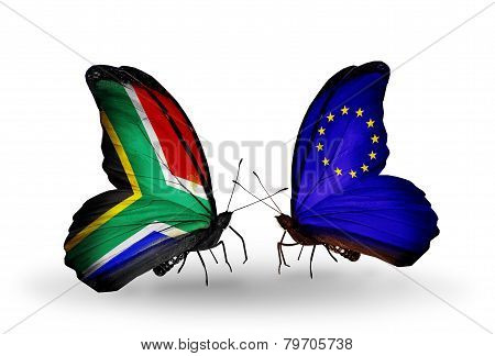 Two Butterflies With Flags On Wings As Symbol Of Relations South Africa And Eu