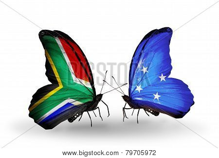 Two Butterflies With Flags On Wings As Symbol Of Relations South Africa And Micronesia
