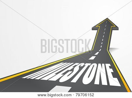 detailed illustration of a highway road going up as an arrow with milestone text, eps10 vector