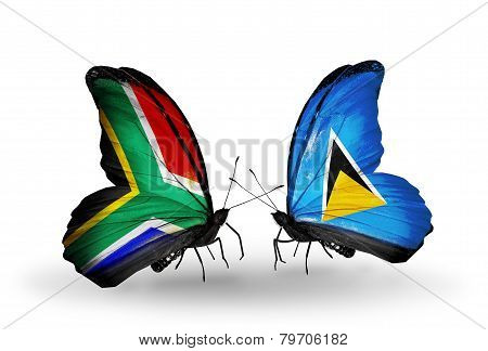 Two Butterflies With Flags On Wings As Symbol Of Relations South Africa And Saint Lucia