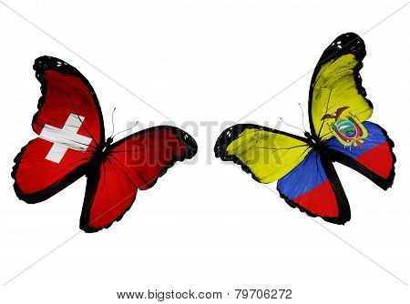 Concept - Two Butterflies With Swaziland And Ecuador Flags Flying, Like Two Football Teams Playing